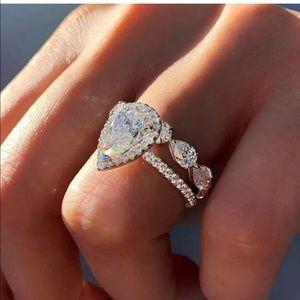 Women's bling 2 pc wedding engagement rings
